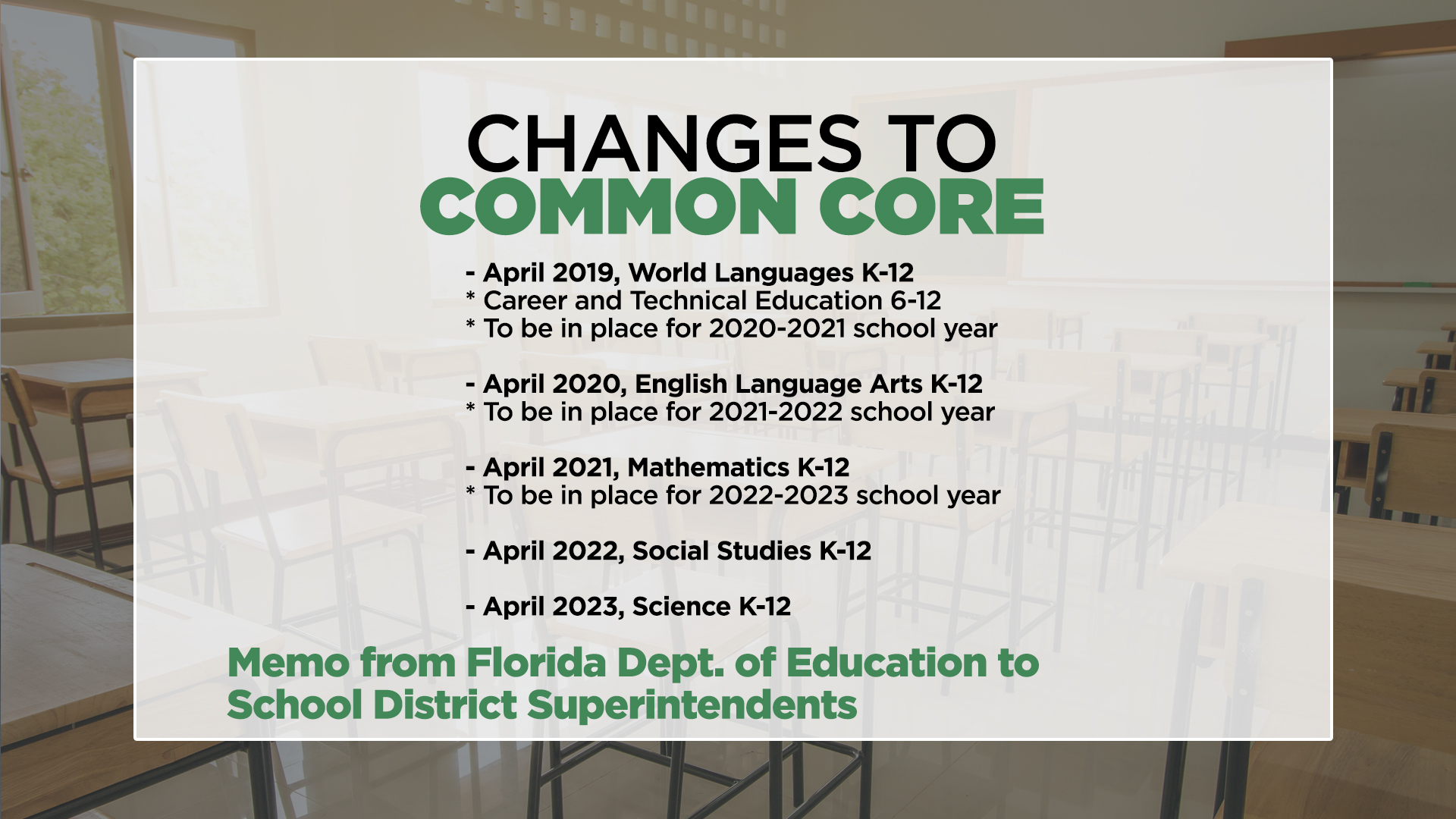 Common Core Changes in Florida Will be Gradual