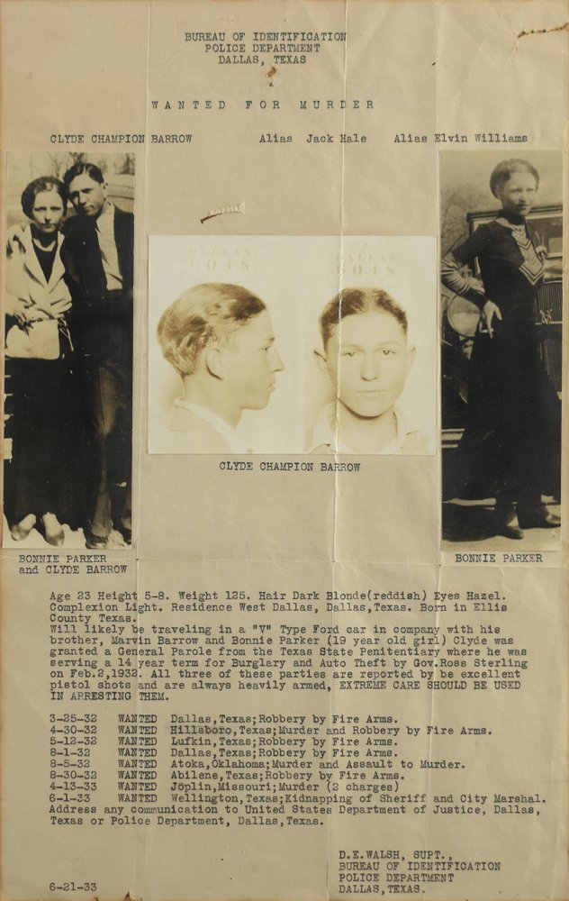In this July 29, 2019, photo provided by RR Auction, a wanted poster of Bonnie Parker and Clyde Barrow are shown. A book of poetry handwritten by Bonnie Parker and a watch belonging to Clyde Barrow are among items from the outlaw Texas couple being offered at auction.