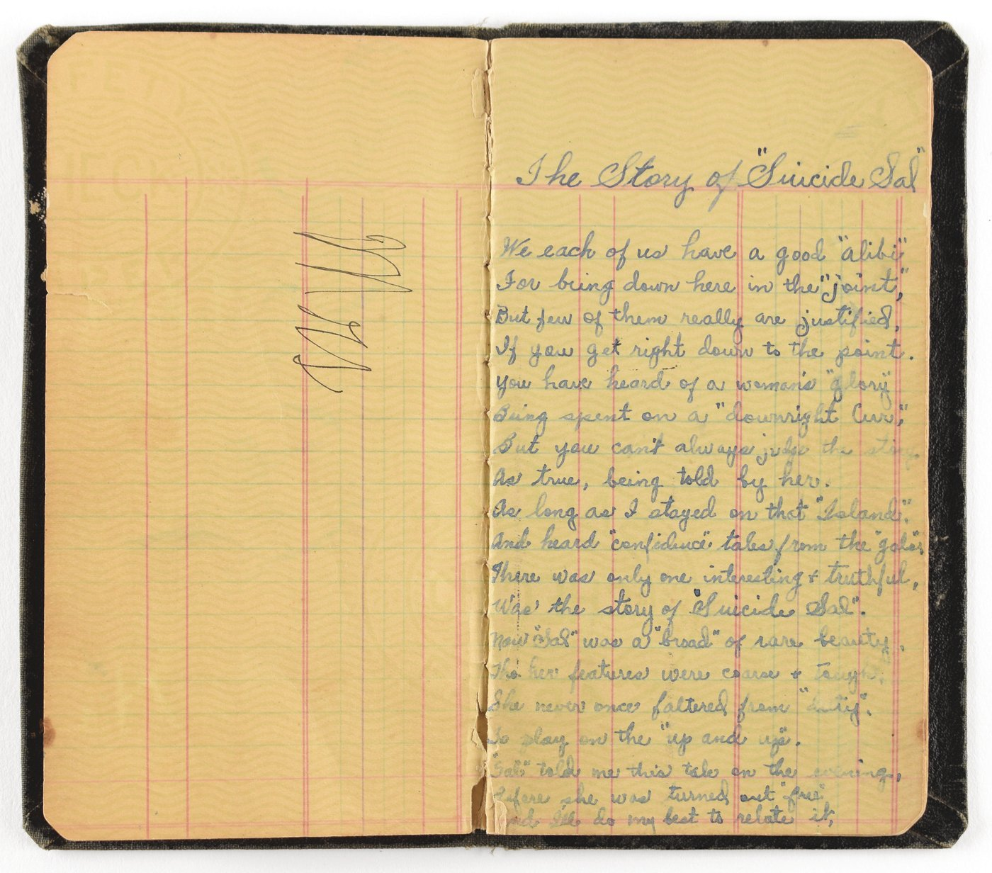 In this July 23, 2019, photo provided by RR Auction, a book of poetry belonging to Bonnie Parker is shown. A book of poetry handwritten by Parker and a watch belonging to Clyde Barrow are among items from the outlaw Texas couple being offered at auction.